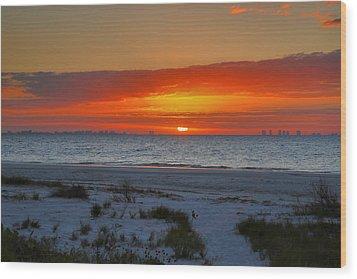 Sanibel Sunrise Xxiii Wood Print by Steven Ainsworth
