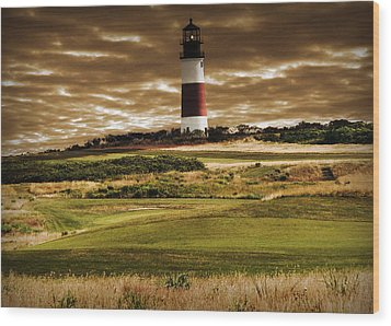 Sankaty Head Lighthouse In Nantucket Wood Print by Mitchell R Grosky