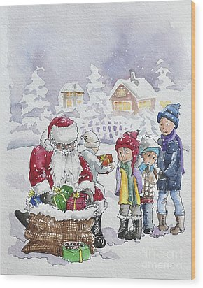 Santa And Children Wood Print