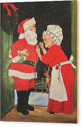 Santa And Mrs Wood Print