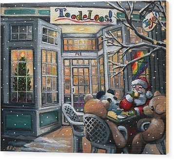 Santa At Toodeloos Toy Store Wood Print