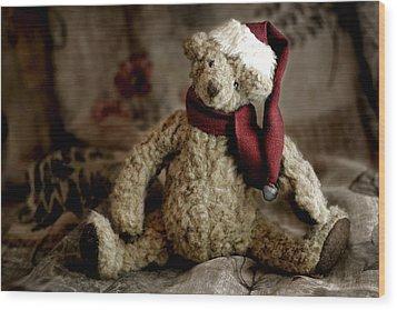 Santa Bear Wood Print by Carol Leigh