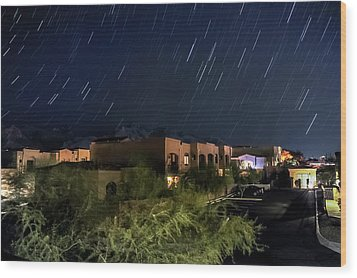 Wood Print featuring the photograph Santa Catalina Mountain Startrails by Dan McManus