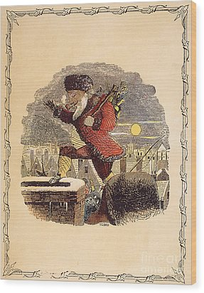 Santa Claus, 1848 Wood Print by Granger