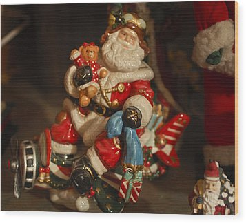 Santa Claus - Antique Ornament -05 Wood Print by Jill Reger