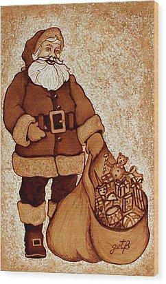 Wood Print featuring the painting Santa Claus Bag by Georgeta  Blanaru