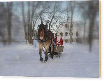 Santa Claus Wood Print by Conny Sjostrom