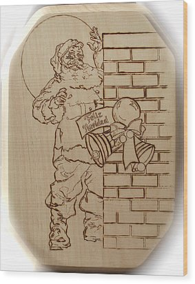 Santa Claus - Feliz Navidad Wood Print