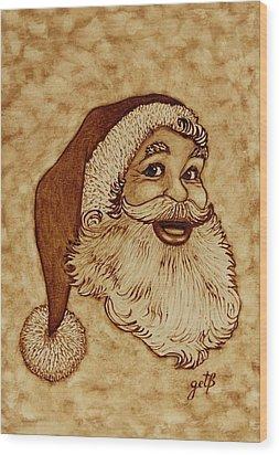 Santa Claus Joyful Face Wood Print by Georgeta  Blanaru