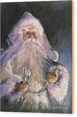 Santa Claus - Sweet Treats At Fireside Wood Print by Shelley Schoenherr