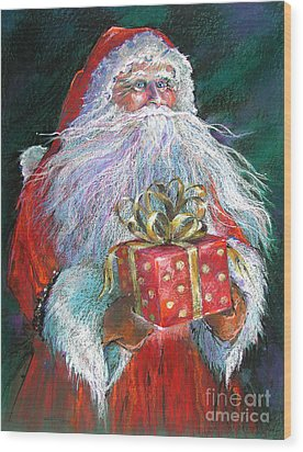 Santa Claus - The Perfect Gift Wood Print by Shelley Schoenherr