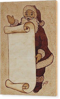 Wood Print featuring the painting Santa Claus Wishlist Original Coffee Painting by Georgeta  Blanaru