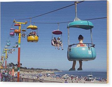 Santa Cruz Beach Amusement Park  Wood Print by Carol M Highsmith