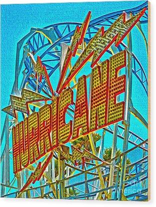 Santa Cruz Boardwalk - Hurricane Wood Print by Gregory Dyer