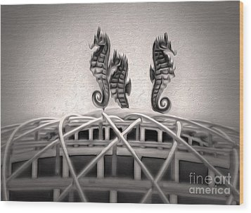 Santa Cruz Boardwalk - Sea Horses In Sepia Wood Print by Gregory Dyer