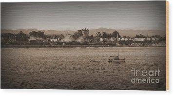 Santa Cruz Boardwalk Sepia 2 Wood Print by Garnett  Jaeger