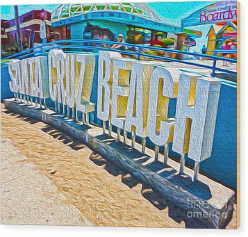 Santa Cruz Boardwalk Sign Wood Print by Gregory Dyer