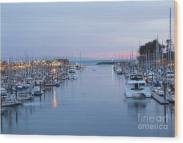 Santa Cruz Harbor At Dusk Wood Print