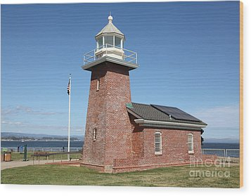 Santa Cruz Lighthouse Surfing Museum California 5d23940 Wood Print by Wingsdomain Art and Photography