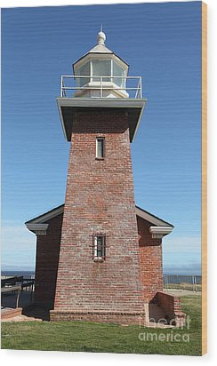 Santa Cruz Lighthouse Surfing Museum California 5d23944 Wood Print by Wingsdomain Art and Photography