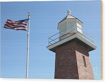 Santa Cruz Lighthouse Surfing Museum California 5d23951 Wood Print by Wingsdomain Art and Photography
