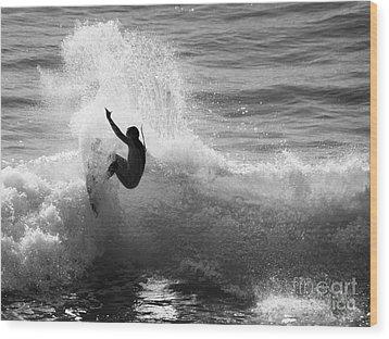 Santa Cruz Surfer Black And White Wood Print by Paul Topp