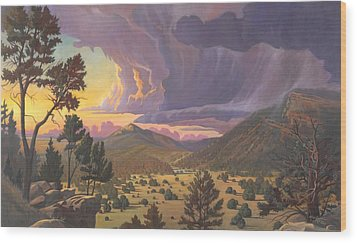 Wood Print featuring the painting Santa Fe Baldy by Art James West