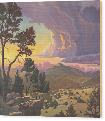 Wood Print featuring the painting Santa Fe Baldy - Detail by Art James West