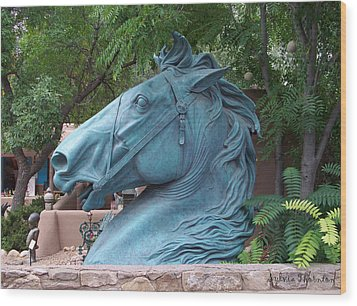 Wood Print featuring the photograph Santa Fe Big Blue Horse by Sylvia Thornton