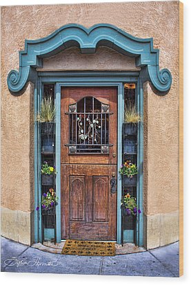 Wood Print featuring the photograph Santa Fe Blue Door by Sylvia Thornton