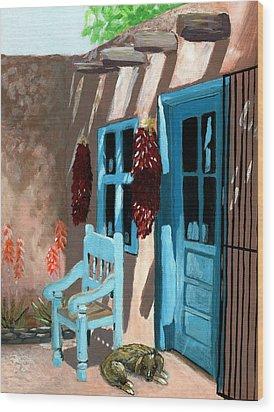 Santa Fe Courtyard Wood Print