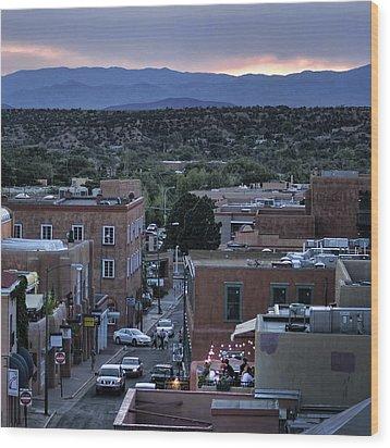 Wood Print featuring the photograph Santa Fe Evening Rooftops by John Hansen