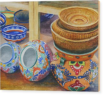 Santa Fe Hold 'em Pots And Baskets Wood Print by Karen Fleschler