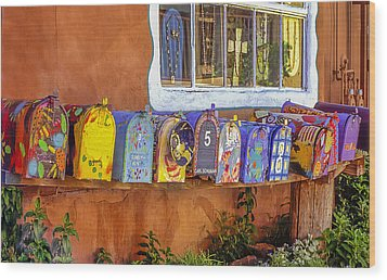 Santa Fe Mailboxes 2 Wood Print by Wendell Thompson