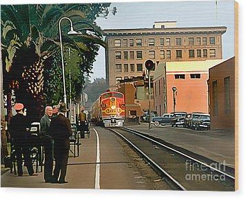 Santa Fe Train Comes Into Town Wood Print by Wernher Krutein