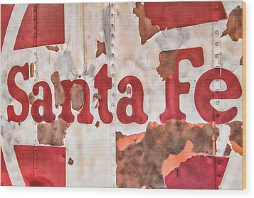 Santa Fe Vintage Railroad Sign Wood Print