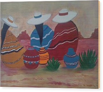 Wood Print featuring the painting Santa Fe Women by Judi Goodwin