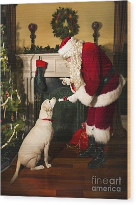 Santa Giving The Dog A Gift Wood Print