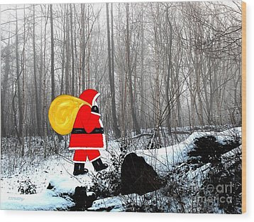 Santa In Christmas Woodlands Wood Print by Patrick J Murphy