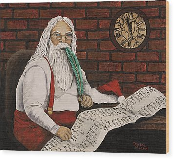 Santa Is Checking His List Wood Print by Darice Machel McGuire