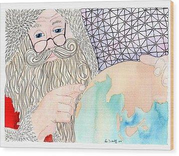 Santa Is Planning Wood Print by Paula Dickerhoff