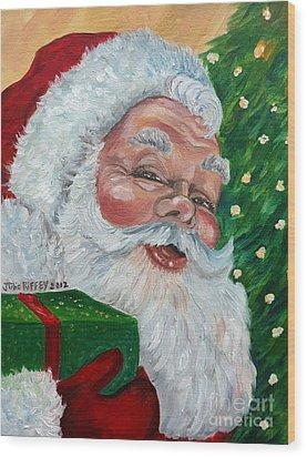 Santa Wood Print by Julie Brugh Riffey