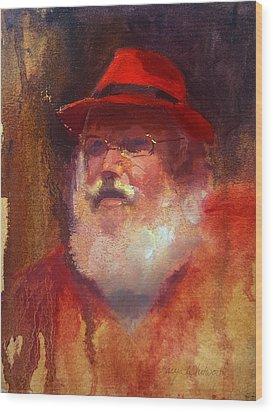 Santa Wood Print by Karen Whitworth