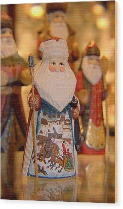 Santa  Wood Print by Lora Lee Chapman