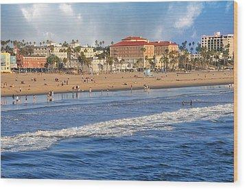 Santa Monica Beach View  Wood Print by Lynn Bauer