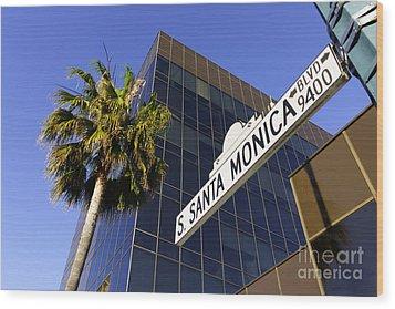Santa Monica Blvd Sign In Beverly Hills California Wood Print by Paul Velgos