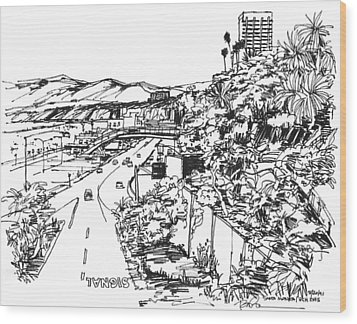 Santa Monica Ca - Pacific Coast Highway Starts Here Wood Print