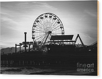 Santa Monica Ferris Wheel Black And White Photo Wood Print by Paul Velgos