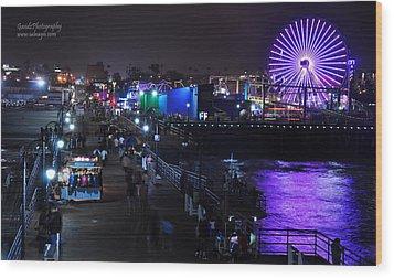 Wood Print featuring the digital art Santa Monica Pier 5 by Gandz Photography