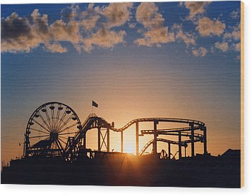 Santa Monica Pier Wood Print by Art Block Collections